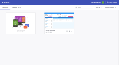 Indigo.Design dashboard with prototypes and usability tests