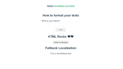 formatting page with fallback text.