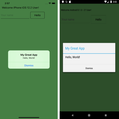 """Hello, World!"""" on iPhone (left) and Android (right)"""