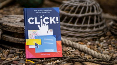 A photograph of the hard copy of the latest Click! book written by Paul Boag
