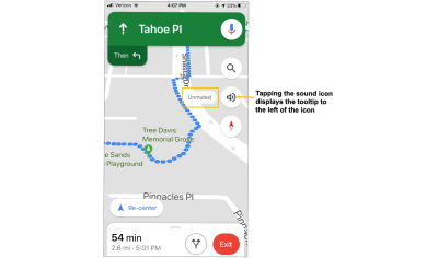 Tooltip explaining the meaning of unmuted on the Google maps mobile app.