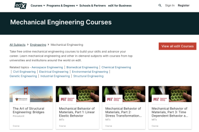 edX page for mechanical engineering courses.