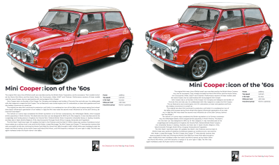 Left: A presentable but predictable design which lacks energy. Right: CSS Shapes suggest fun and speed.