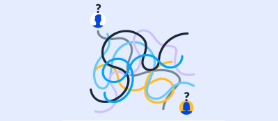 An illustration portraying a sort of maze with five squiggly lines thrown in different directions while one avatar is shown on the bottom right and one avatar on the top left