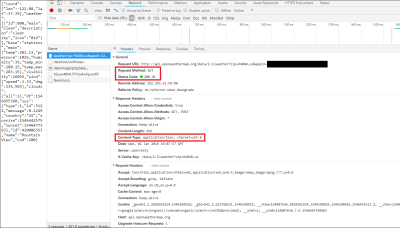 Google Dev Tools depicting the Headers from the API response
