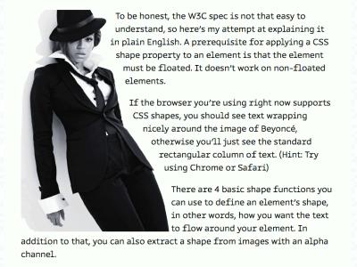 An image of Huijing's article, where text flows around Beyoncé.