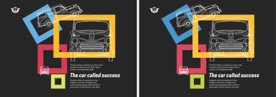 Left: The original colors for my design. Right: Increasing lightness and saturation by 10% increases their vibrancy.