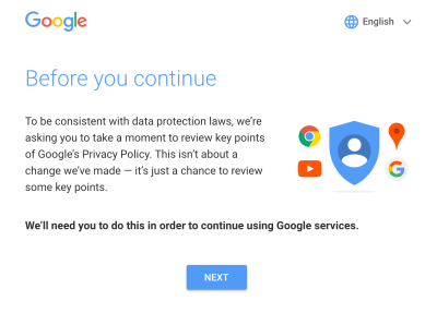 Google note asking for key points of Google's Privacy Policy to be reviewed