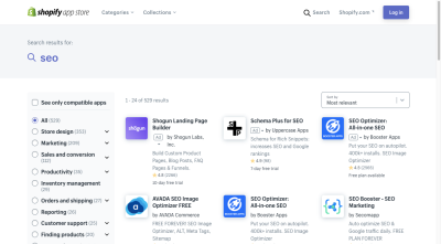 """Search for """"SEO"""" in Shopify App Store has 529 results, showing apps like AVADA SEO Image Optimizer, SEO Optimizer and SEO Booster"""