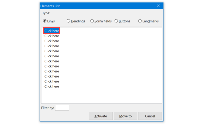 """NVDA's Elements List panel, set to showing links. The term """"Click here"""" is shown 12 times. Screenshot."""