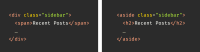 Two code examples for a sidebar. One uses a div element, while the others uses an aside element. Both have the class of sidebar applied to them, with a subheading of Recent Posts.