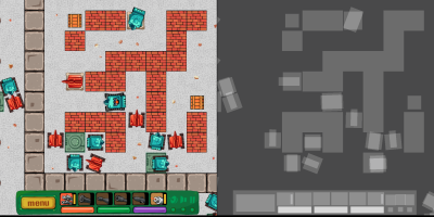 Example of the Overdraw shader in action in game development