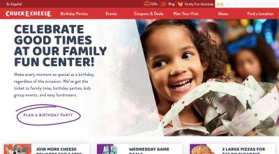 Chuck E. Cheese website 2020