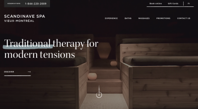 Scandinave Spa - home page video with darkened, empty and quiet rooms and experiences