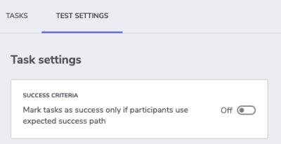 Indigo.Design usability test settings - success criteria