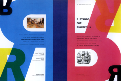 R Stands for Rightous spread designed by Bradbury Thompson.