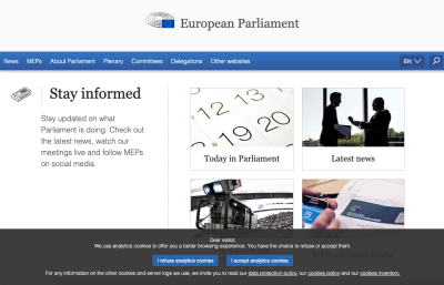 Screengrab of the European Parliament's cookie consent