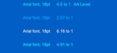 lighter blue and white font placed on darker blue background color