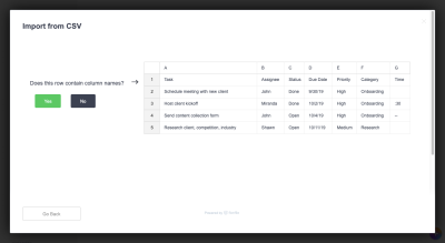ClickUp data import column identification