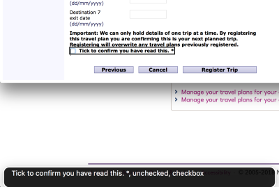 Screenshot of web form, 'Tick to confirm you have read this'