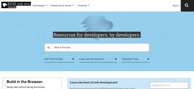 The MDN web docs homepage