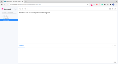 this image shows 'Hello Test User!, this is a simple web component'