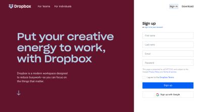 Dropbox website 2019