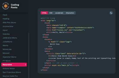 Monospace Coding Fonts