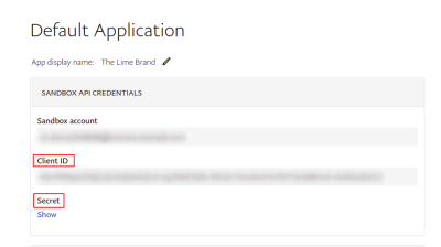 Default Application overview on Paypal Sandbox business account settings
