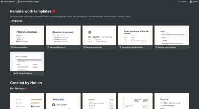 Notion Remote Work Templates gallery