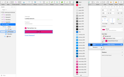 Change the text color of a form's active elements to the product's primary color using Overrides