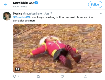 Twitter user @monicamhere complains that Scrabble GO app crashes