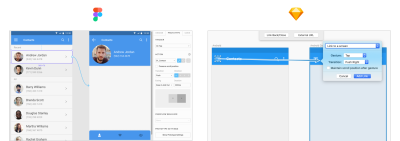 Prototype controls in Sketch and Figma