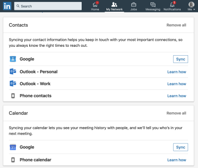 importing contacts feature on LinkedIn