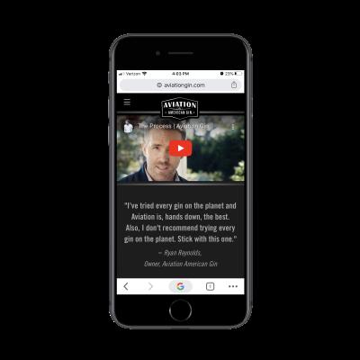 Ryan Reynolds video on Aviation Gin mobile site