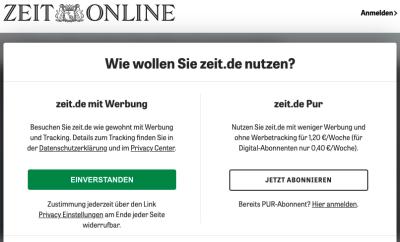 Screengrab of Zeit's cookie consent