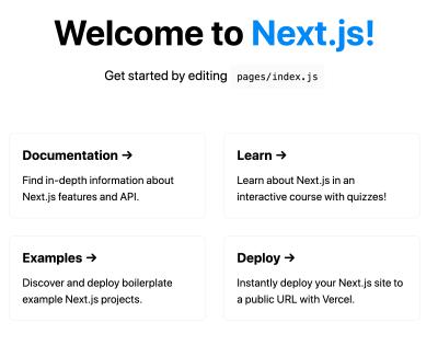 A screenshot of Next.js default starter index page