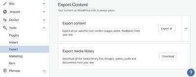 WordPress Export Content screen