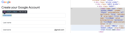 Screenshot of gmail form markup