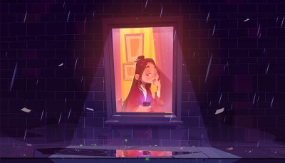 Illustration of girl sitting inside a room at the window looking outside while it rains