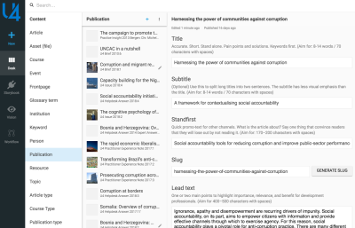 U4.no's content editor with a publication document open