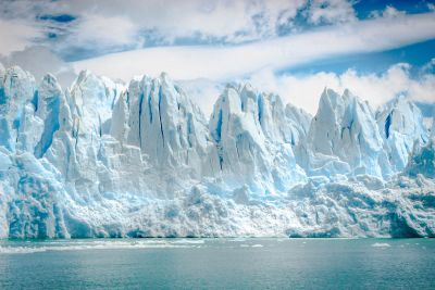 An iceberg melting due to climate change