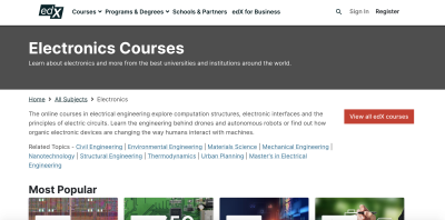 Category page for electronics courses on edX