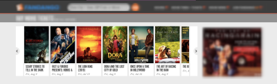 The Fandango home page shows a slider with popular movies and their posters