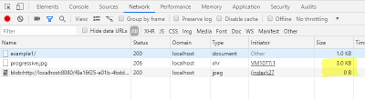 Shows the network console and the sizes of the HTTP requests