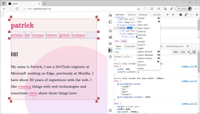 Screenshot of Edge DevTools showing the CSS autocomplete in the Styles pane with icons in front of most property values to help choose