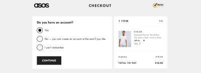 New design of ASOS page with the added option of 'Can't remember' to the question 'Do you have an account or not?'