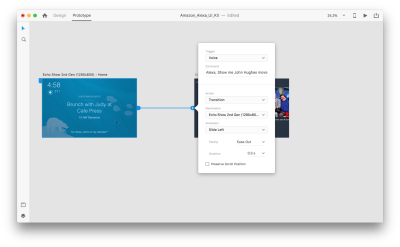 Setting a voice trigger in Adobe XD.