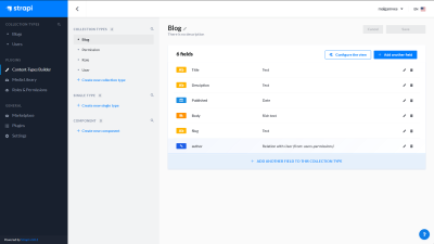 A screenshot of the Blog collection type showing all its fields