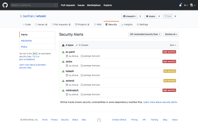 GitHub interface highlighting security issues with build tool dependencies